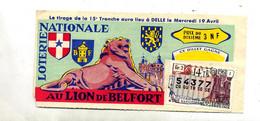 Billet De Loterie 1961 Lion De Belfort Vignette  Reims Cathedrale - Lottery Tickets