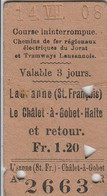 CHEMIN DE FER ELECTRIQUE DU JORAT ET TRAMWAY LAUSANNOIS    TICKET POINCONNE 1908 - Europa