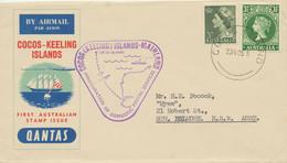 COCOS (KEELING) ISLANDS 1955 Mail First Flight W Qantas COCOS (KEELING) ISLANDS - Cocoseilanden