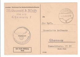 Drittes Reich 1943 , Karte Vom Reichsarbeitsdienst - Covers & Documents