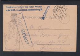 KuK Feldpost  1916 Prag Rotes Kreuz Zensur - Cartas