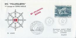 TAAF - Dumont D'Urville-T.Adélie : Lettre M/S Polarbjorn Avec Poste Aérienne N°79 L'Erebus - 15/12/1984 - Briefe U. Dokumente