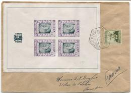 1937. Carta De Barcelona A Francia Realmente Circulada Con Hoja Huérfanos De Correos, Rara - 1931-50 Storia Postale
