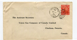 1934 Cover 3c From Perth Ont. To The Assistant Secretary UNion Gas Company , Chatham Ontario Canada - 1903-1954 Reyes