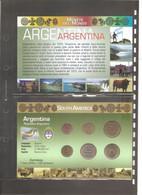 "Argentina - Folder Bolaffi ""Monete Dal Mondo"" Emissione Valori UNC - Argentine"