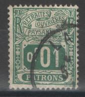 France - Fiscal - Retraites Ouvrières Et Paysannes - Patrons - 0,01 F Oblitéré - Fiscali