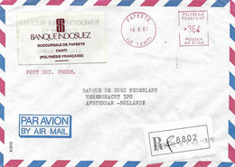 "French Polynesie 1989 Papeete Meter Banque Indosuez Satas ""R"" SR 6182 EMA Registered Cover - Briefe U. Dokumente"