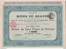 Lot 4 Actions Société Des Mines De Beaune Juillet 1913 - Mines D'or De Beaune Les Mines - Limoges 87 - Gold Mine Shares - Mineral