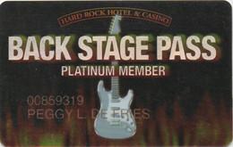 Back Stage Pass : Hard Rock Hotel & Casino - Casino Cards