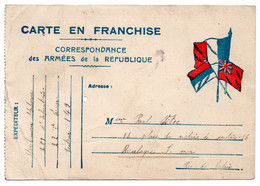 FRANCHISE MILITAIRE - CPFM - CORRESPONDANCE MILITAIRE - CARTE FM -  1917. - Cartes De Franchise Militaire