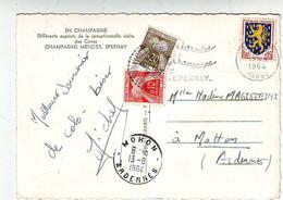 Carte Postale Taxée à 0.30 Fr Par Timbre Taxe De 0.20 Et 0.10 Fr à MATTON Et CLEMANCY . LES CAVES DE CHAMPAGNE . EPERNAY - 1960-.... Briefe & Dokumente