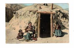 "USA, Indian, Famous Navajo Woman Weaver ""Elle Of Ganado & Children In Front Of Hogan "", Pre-1915 Postcard - America"