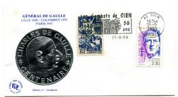 Thème Général De Gaulle - Flamme GIEN Mai 1990 - Les Combats 50 Ans - Y 622 - De Gaulle (General)
