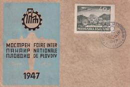 BULGARIE 1947 LETTRE DE PLOVDIV FOIRE INTERNATIONALE TIMBRE NON DENTELE - Briefe U. Dokumente