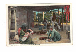"""Arizona, USA, Indians, """"A Typical Indian Home In Southern Arizona, 1930 WB Postcard - America"""