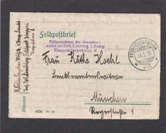 LANDST. INF. BATL. LIMBURG, 1. KOMP. ETAPPENINSPEKTION. FELDPOSTBRIEF NACH MÜNCHEN. - Covers & Documents