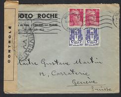 FRANCE 1945: LSC De Chalons-s-Marne Pour Genève Affr. à 4Fr, Censure Française - Lettres & Documents