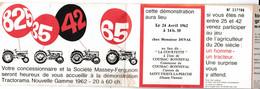 Invitation TRACTORAMA 1962 - Démonstration MASSEY FERGUSON à Coussac Bonneval - Saint Yrieix - Haute Vienne 87 - Supplies And Equipment