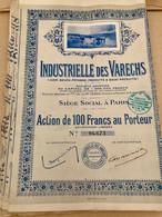 INDUSTRIELLE  Des  VARECHS  ---------  Action  De  100 Frs - Industry