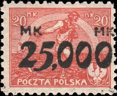 POLOGNE / POLAND 1923 - Mi.186 P.9 25,000 / 20M Type I - Mint* - Unused Stamps