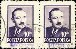POLOGNE / POLAND 1950 GROSZY O/P T.2 (Gdansk G.1a Violet) Mi.625x2 Used KRAG - Used Stamps