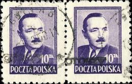 POLOGNE / POLAND 1950 GROSZY O/P T.2 (Gdansk G.1a Black) Mi.625x2 Used GDYNIA 8 - Used Stamps