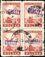 POLOGNE / POLAND 1950 GROSZY O/P T. 3 (Kr./Kt.1c Violet) 4xMi.565 Obl / Used - Used Stamps