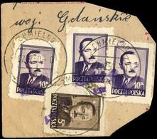 POLOGNE / POLAND 1950 GROSZY O/P T.2 (G.1a Violet) MI623 & Mi.625x3 Used CHMIELNO - Used Stamps