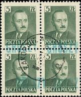 POLOGNE / POLAND 1950 GROSZY O/P T.3 (Krakow Kr.1b Green) Mi.650 X4 Used ZAKOPANE - Used Stamps
