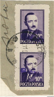 POLOGNE / POLAND 1950 GROSZY O/P T.8 (Olsztyn O.1b Violet) Mi.625x2 Used OLSZTYN - Used Stamps