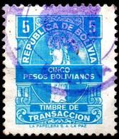 Bolivia 1980's H&A Tipo #134 $b5.- Celeste Formato Chico. La Papelera S.A. H&A Type # 134 $ B5.- Light Blue Small Format - Bolivia