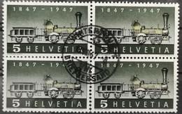 1947 Dampflokomotive Viererblock MiNr: 484 - Used Stamps