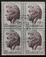 1946 Hinrich Pestalozzi Viererblock MiNr: 469 - Used Stamps
