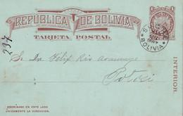 BOLIVIE 1887     ENTIER POSTAL/GANZSACHE/POSTAL STATIONARY  CARTE DE SUCRE - Bolivia