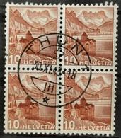 1942 Schloss Chillon Viererblock MiNr: 363b - Used Stamps