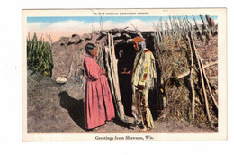 """Greetings From SHAWANO, Wisconsin, USA, Indians, """"At The Indian Medicine Lodge"""", Old Linen Postcard - America"""