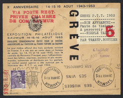 """FRANCE 1953: Carte-Souvenir """"10ème Anniversaire De La Grève PTT"""" - Storia Postale"""