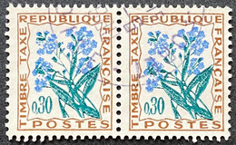 France YTYX099-Timbres Taxe Fleurs Des Champs Pair Of 30 C Used Stamps 1964-71- FRAYX099Ux2h - Fiscaux