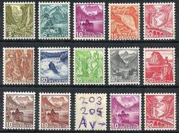 Schweiz Suisse 1936/42: Landschaften/Paysages Zu 201-209y Mi 297-305y Yv 289-297 (glatt/lisse) ** MNH (Zu CHF 320.00) - Unused Stamps