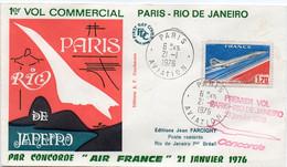 1er Vol Commercial Paris -Rio De Janeiro Poste Aérienne N° 49 Concorde 21/01/1976 Paris Aviation édition Farcigny - 1960-.... Lettres & Documents