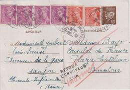 17 OBLITERATION SAUJON 1942 RETOUR A L'ENVOYEUR 3316 - 1921-1960: Modern Tijdperk