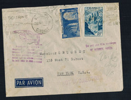 A-1558**FRANCE 1949 AIR MAIL COVER **RETURNED TO SENDER* LIBOURNE TO NEW YORK - Lettres & Documents
