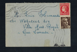 A-1559** FRANCE 1946 MULTI-FRANKED COVER PARIS TO MONTREAL, CANADA - Lettres & Documents