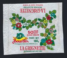 "Etiquette Fromage  La Grignette 50%mg 180g  Bourdin  Fromagerie Duernoise  Duerne Rhône 69 "" Fleurs"" - Cheese"
