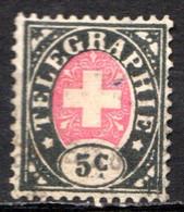 SUISSE - (Postes Fédérales) - 1868-81 - Timbre Télégraphe - N° 1 - 5 C. Noir Et Rose - Portofreiheit