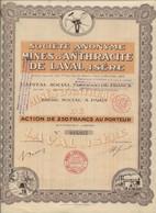 MINES D 'ANTHRACITE DE LAVAL - ISERE -ACTION DE 250 FRS -ANNEE 1929 - Mineral