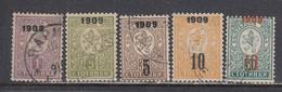 Bulgaria 1909 - Petit Lion, Timbres Avec Surcharge, Mi-Nr. 71/75, Used - Oblitérés