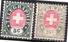 SUISSE - (Postes Fédérales) - 1868-81 - Timbre Télégraphe - N° 1 Et 3 - 5 C. Noir Et Rose Et 25 C. Gris Et Rose - Portofreiheit