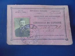CERTIFICAT DE CAPACITE POUR LA COUNDUITE DES AUTOMOBILES 1918 GIRONDE A. DARRAS - Cars