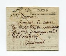 !!! MARQUE POSTALE PORT PAYE DE VALENCIENNES SUR LETTRE DE 1812 AVEC TEXTE - 1701-1800: Precursors XVIII